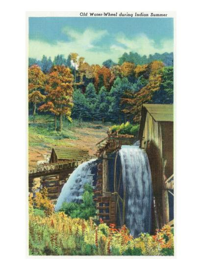 Great Smoky Mts. Nat'l Park, Tn - View of an Old Water-Wheel During Indian Summer, c.1940-Lantern Press-Art Print