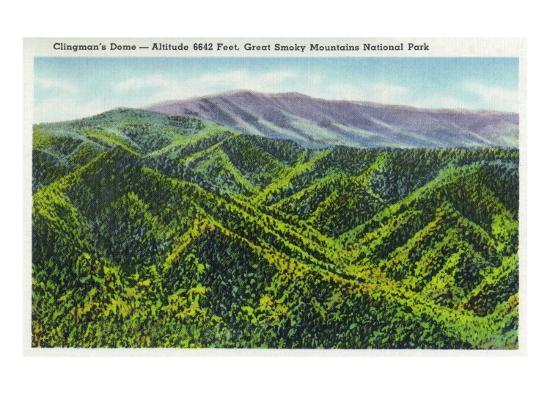 Great Smoky Mts. Nat'l Park, Tn - View of Clingman's Dome, c.1936-Lantern Press-Art Print