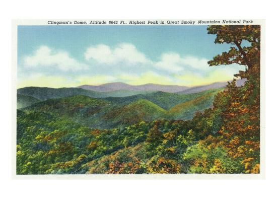 Great Smoky Mts. Nat'l Park, Tn - View of Clingman's Dome in the Autumn, c.1940-Lantern Press-Art Print