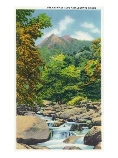 Great Smoky Mts. Nat'l Park, Tn - View of the Le Conte Creek and the Chimney Tops, c.1946-Lantern Press-Art Print