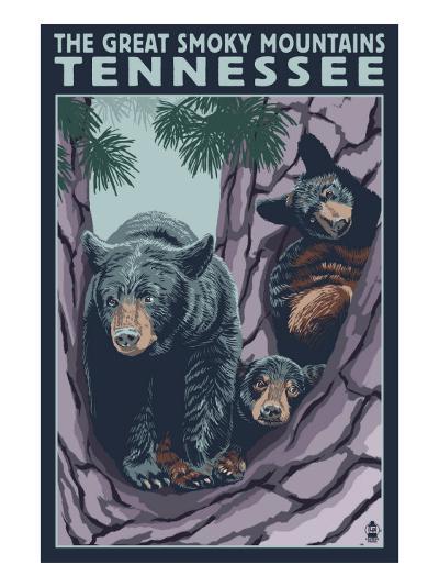 Great Smoky Mts National Park, TN, Black Bear and Cubs in Tree-Lantern Press-Art Print