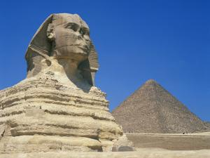 Great Sphinx and One of the Pyramids at Giza, UNESCO World Heritage Site, Cairo, Egypt