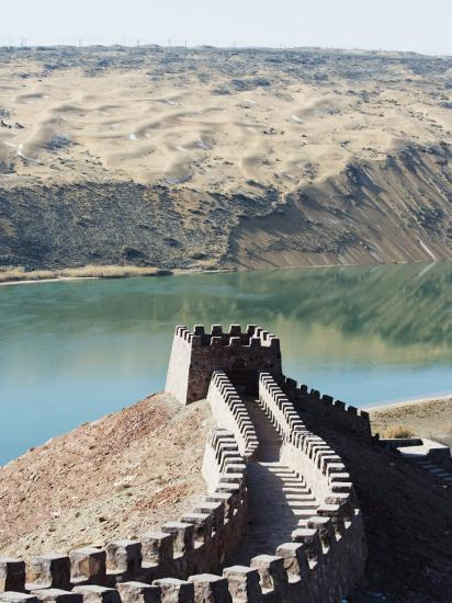 Great Wall of China, and the Yellow River in the Tengger Desert at Shapotou Near Zhongwei-Christian Kober-Photographic Print