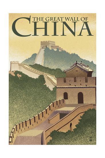 Great Wall of China - Lithograph Style-Lantern Press-Art Print