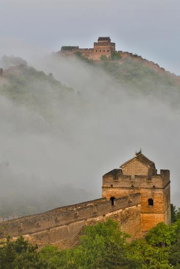 Great Wall of China on a Foggy Morning. Jinshanling, China-Darrell Gulin-Photographic Print