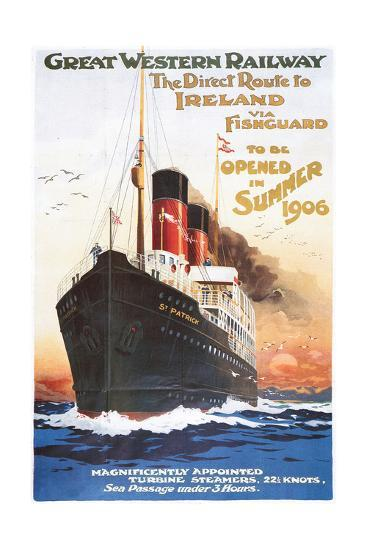 Great Western Railway - Steamship - Vintage Poster-Lantern Press-Art Print