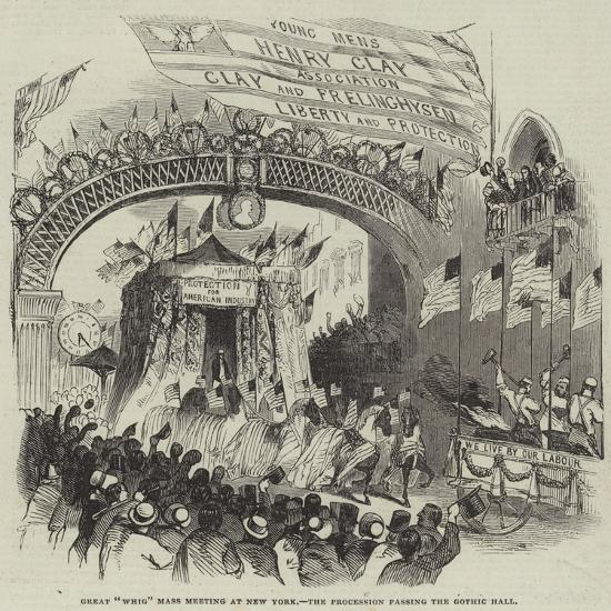 Great Whig Mass Meeting at New York, the Procession Passing the Gothic Hall--Giclee Print