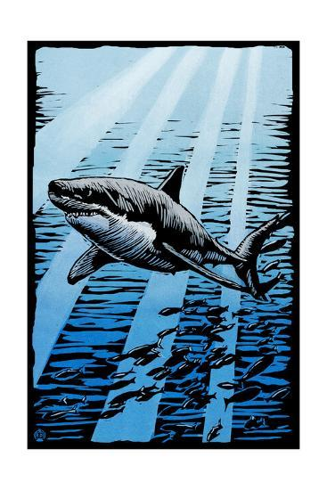 Great White Shark - Scratchboard-Lantern Press-Art Print