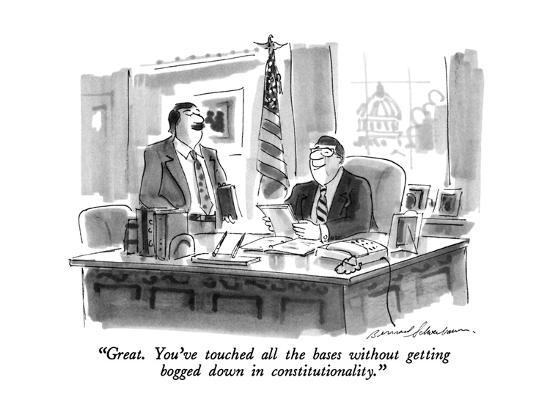 """""""Great. You've touched all the bases without getting bogged down in consti?"""" - New Yorker Cartoon-Bernard Schoenbaum-Premium Giclee Print"""