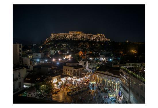 Greece Athens Acropolis Night 1-Vladimir Kostka-Art Print