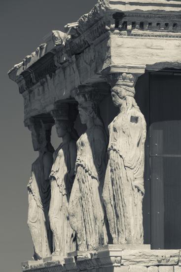 Greece, Athens, Acropolis, the Erechtheion, Porch of the Caryatids-Walter Bibikow-Photographic Print