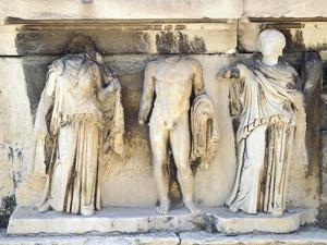 Greece, Athens, the Acropolis of Athens, Dionysus Theatre, Reliefs of Proscenium