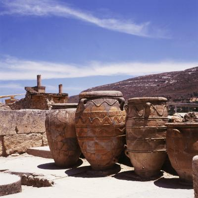 Greece: Carved Stone Pots on Archaeological Site, Knossos, Aegean Island of Crete--Photographic Print