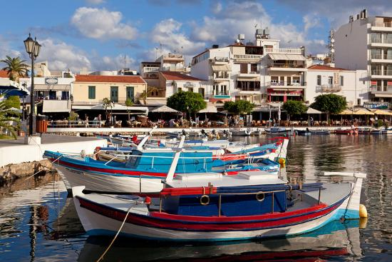 Greece, Crete, Agios Nikolaos, Lake Voulismeni, Fishing Boats-Catharina Lux-Photographic Print
