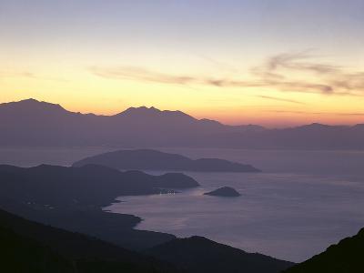 Greece, Crete, Agios Nikolaos, Mirabello Bay, Sunset-Thonig-Photographic Print