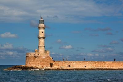 Greece, Crete, Chania, Venetian Harbour, Lighthouse-Catharina Lux-Photographic Print