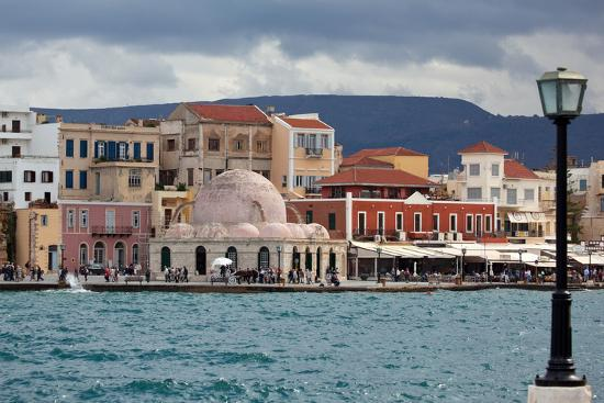 Greece, Crete, Chania, Venetian Harbour, Mosque-Catharina Lux-Photographic Print