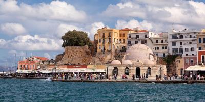 Greece, Crete, Chania, Venetian Harbour, Mosque-Catharina Lux-Photographic Print