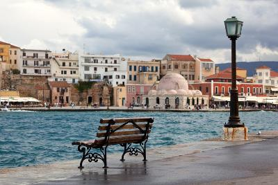 Greece, Crete, Chania, Venetian Harbour, Waterside Promenade, Bench-Catharina Lux-Photographic Print