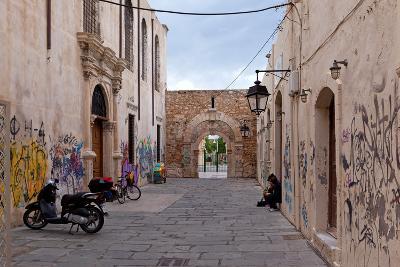 Greece, Crete, Rethimnon, Lane with Graffiti-Catharina Lux-Photographic Print