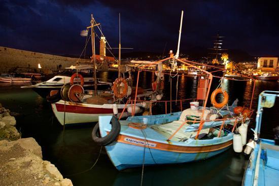 Greece, Crete, Rethimnon, Venetian Harbour, Fishing Boats, Evening-Catharina Lux-Photographic Print