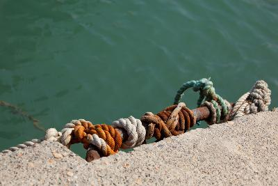 Greece, Crete, Sitia, Harbour, Landing Stage, Ropes-Catharina Lux-Photographic Print