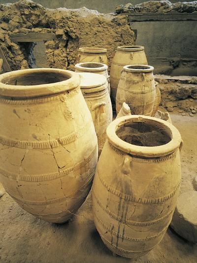 Greece, Cyclades Islands, Santorini, Island of Thera, Pithoi Storage Jars at Akrotiri--Giclee Print