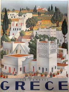 Greece Dandros travel poster
