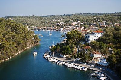 Greece, Paxos. Yachts and Pleasure Boats Moored in the Entrance to Gaios Harbour-John Warburton-lee-Photographic Print