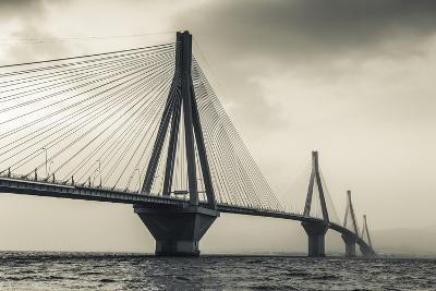 Greece, Peloponese Region, Gulf of Corinth, Patraa-Area, Rio Antirio Bridge-Walter Bibikow-Photographic Print