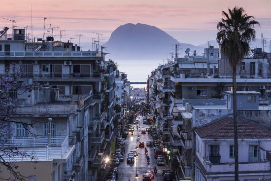 Greece, Peloponese Region, Patra, Elevated City View over Agios Nikolaos Street-Walter Bibikow-Photographic Print