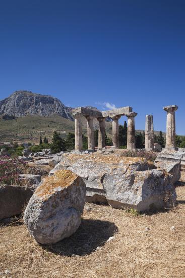 Greece, Peloponnese, Corinth, Ancient Corinth, Temple of Apollo-Walter Bibikow-Photographic Print