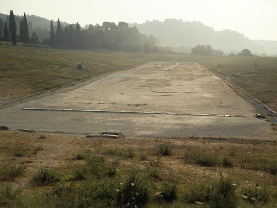 Greece, Stadium Running Track at Archaeological Site of Olympia--Giclee Print