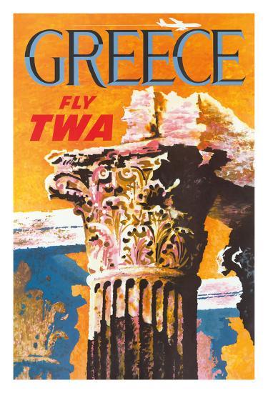 Greece - Trans World Airlines Fly TWA - Corinthian Style Greek Column--Giclee Print
