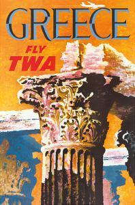 Greece - Trans World Airlines Fly TWA - Corinthian Style Greek Column