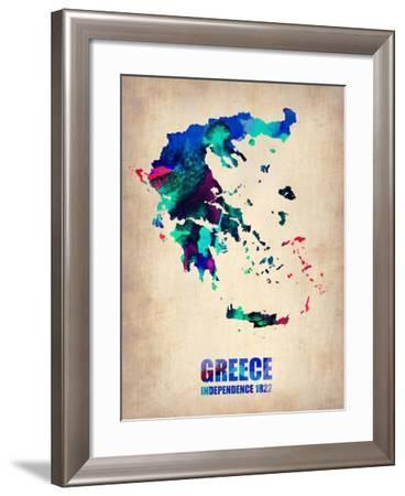 Greece Watercolor Poster-NaxArt-Framed Art Print