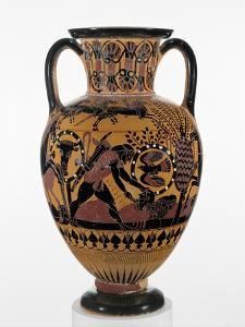 Chalcidian black-figure neck amphora with Odysseus killing a Thracian, c.540 BC by Greek
