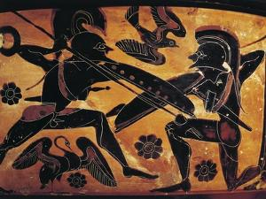 Greek Civilization, Black-Figure Pottery, Attic Vase Depicting Clash Between Two Warriors