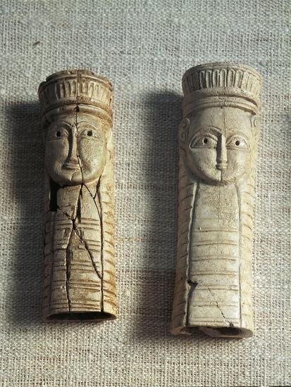 Greek Civilization, Figurines of Idols from Sanctuary of Artemis Orthia at Sparta, Greece--Giclee Print