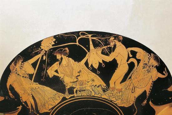 Greek Civilization, Red-Figure Pottery, Bowl by Painter of Brygos, Portraying Dionysus and Silenus--Giclee Print