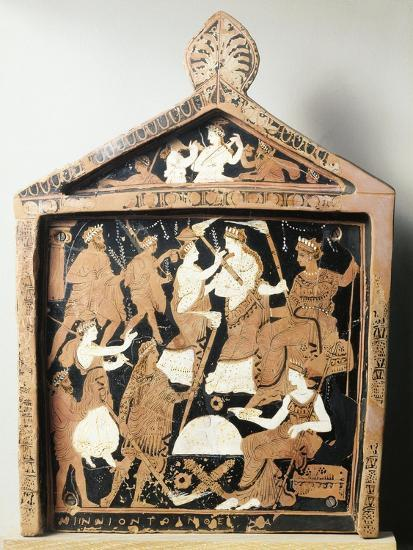 Greek Civilization, Red-Figure Pottery, Pinax Depicting Ritual, Ex-Voto from Eleusis, Greece--Giclee Print