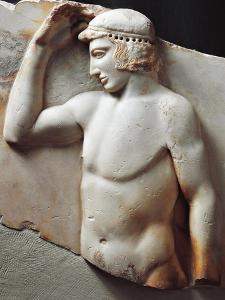 Greek Civilization, Relief Depicting Young Athlete Crowning Himself, from Cape Sounion, Greece
