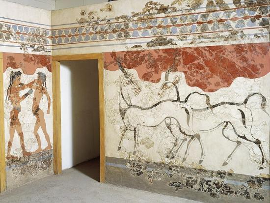 Greek Civilizationes Depicting Antelopes and Young Boxers, from Akrotiri, Thera, Santorini, Greece--Giclee Print