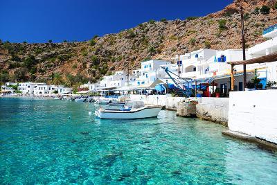 Greek Coastline Village of Loutro in Southern Crete- singidavar-Photographic Print