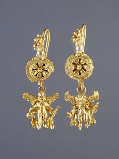 Greek Disk Earrings with Eros Pendants--Photographic Print