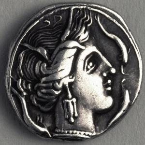 Greek Drachma Depicting Female Portrait Uncovered in Emporium, River Port of Rome