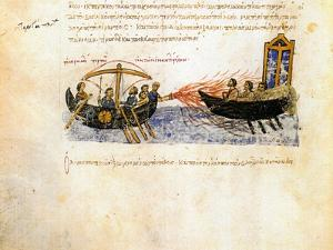 Greek Fire. Miniature from the Madrid Skylitzes, 11th-12th Century