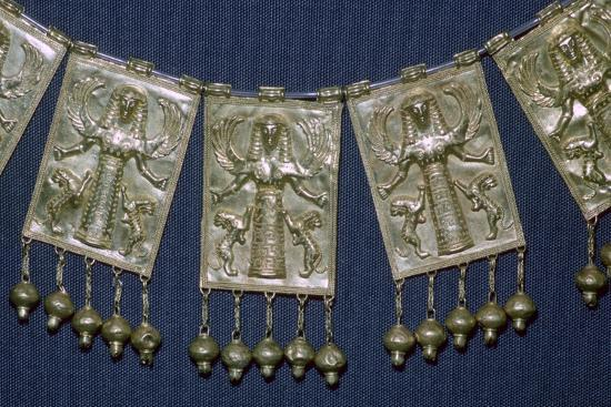 Greek gold pectoral plaques with Artemis, 7th century BC. Artist: Unknown-Unknown-Giclee Print