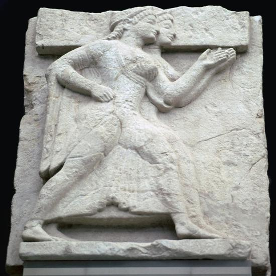 Greek metope of Artemis and Apollo. Artist: Unknown-Unknown-Giclee Print