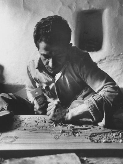 Greek Mountain Villager Engaged in Woodworking During the Winter-James Burke-Photographic Print